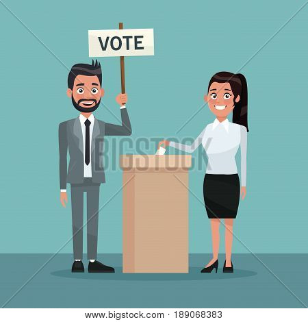 background scene woman in skirt vote in urn for candidate and bearded man in formal suit with poster vector illustration