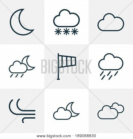 Climate Outline Icons Set. Collection Of Moon, Breeze, Rainstorm And Other Elements. Also Includes Symbols Such As Rainfall, Rainstorm, Flag.