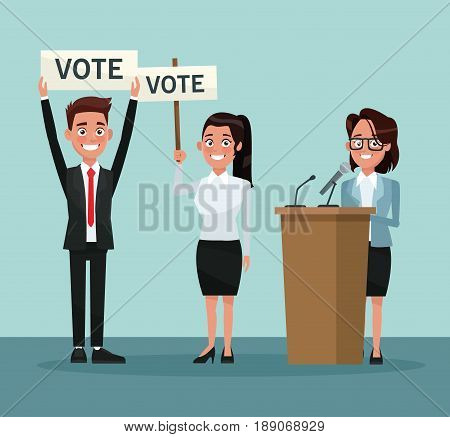 background scene set people in formal suit with banner promoving voting and female candidate in presentation vector illustration