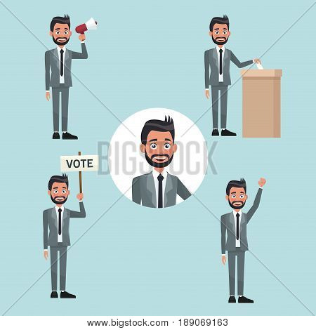 background scene set people bearded man in formal suit in different poses for vote candidacy vector illustration