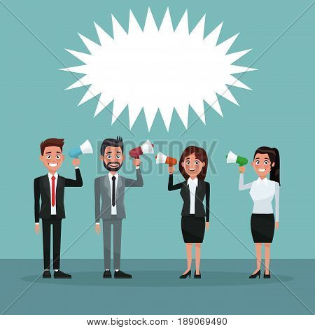 background scene set people in formal suit full body promoving vote candidacy for megaphone vector illustration