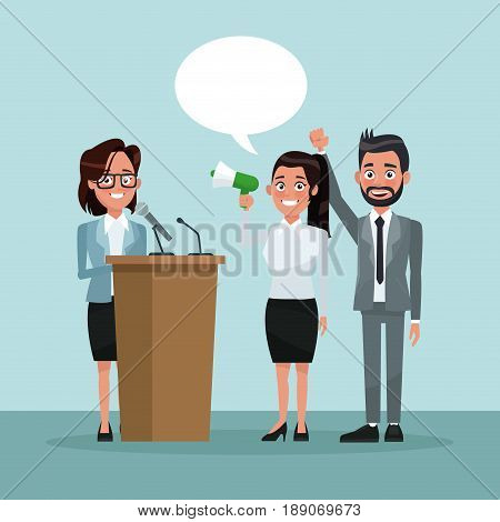 background scene people in formal suit speaks for dialog box with megaphone and female candidate in tribune vector illustration