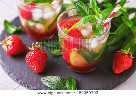 Cold Lemonade With Fresh Strawberry, Mint, Lime And Jam