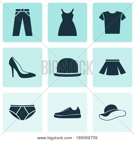 Clothes Icons Set. Collection Of Elegant Headgear, Heel Footwear, Stylish Apparel And Other Elements. Also Includes Symbols Such As Clothes, Elegant, Shirt.