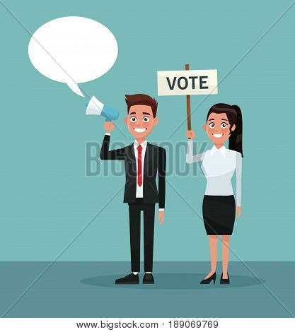 background scene people man in formal suit speaks for dialog box and woman with banner promoving vote vector illustration