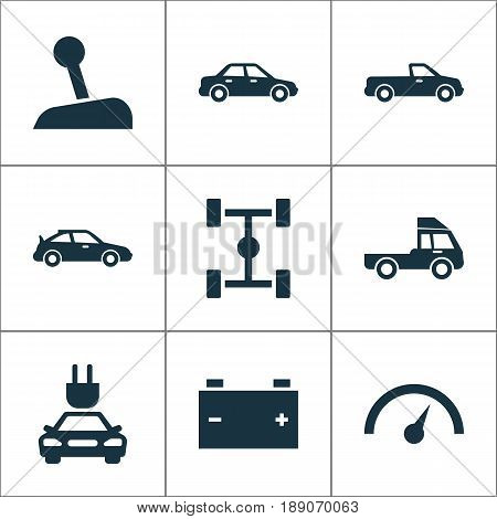 Automobile Icons Set. Collection Of Wheelbase, Automobile, Stick And Other Elements. Also Includes Symbols Such As Battery, Speedometer, Accumulator.