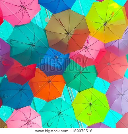 Muli-Color Colorful umbrella. Abstract color texture background.
