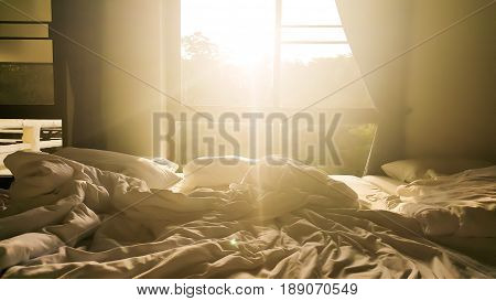The Sun shines through window in the morning. Wakeup