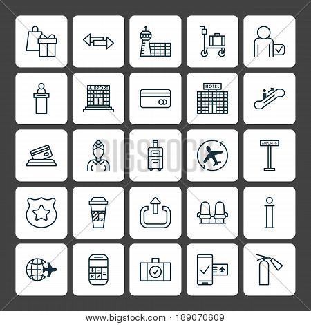 Transportation Icons Set. Collection Of Exit, Airfield Manufacture, Airplane Information And Other Elements. Also Includes Symbols Such As Airfield, Takeaway, Road.