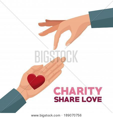 colorful hands charity share love giving a heart vector illustration