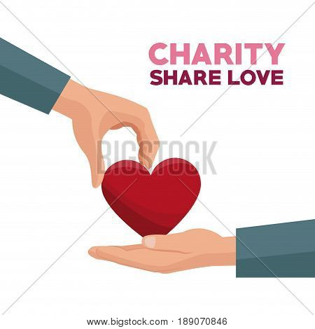 colorful hand giving a red heart charity share love vector illustration