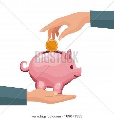 pair human hands depositing coin in a money piggy bank vector illustration