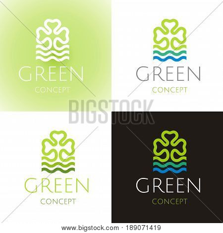 Ecological symbol logo set with clover leaf, water wave. Ecology nature concept. For gardening, environment design. Flat silhouette vector icon isolated on white black background. Vector illustration.