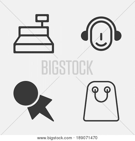 Commerce Icons Set. Collection Of Till, Employee, Tote Bag And Other Elements. Also Includes Symbols Such As Label, Bag, Coupon.