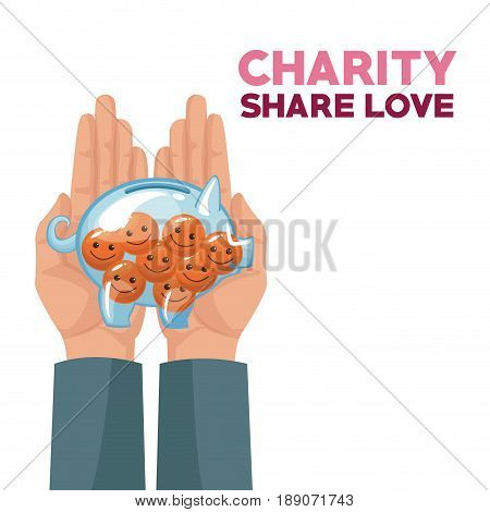 colorful hands holding in palms a money piggy bank with coins in the form of happy face charity share love vector illustration