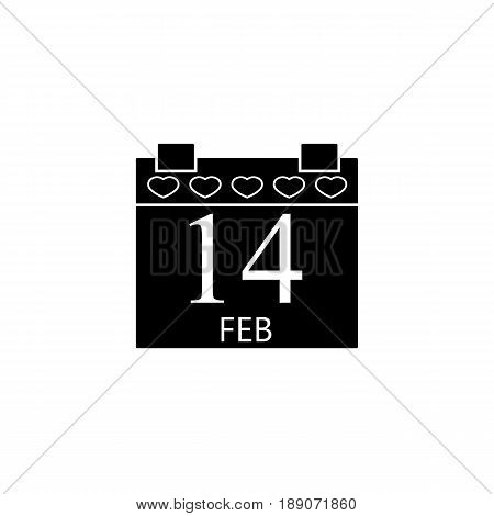 Valentine's calendar solid  icon, 14 February valentine's day , vector graphics, a filled pattern on a white background, eps 10.