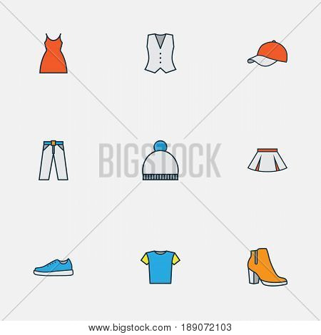Garment Colorful Outline Icons Set. Collection Of Vest, Beanie, Skirt And Other Elements. Also Includes Symbols Such As Sneakers, Woman, Ski.