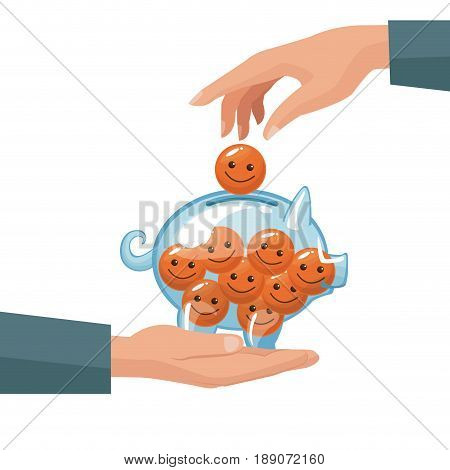 pair human hands depositing coin in the form of happy face in a money piggy bank vector illustration