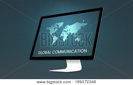 Graphic of global communication connected online community on computer