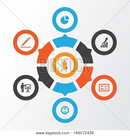 Business Icons Set. Collection Of Pen, Increasing, Pie Bar And Other Elements. Also Includes Symbols Such As Growing, Man, Graph.