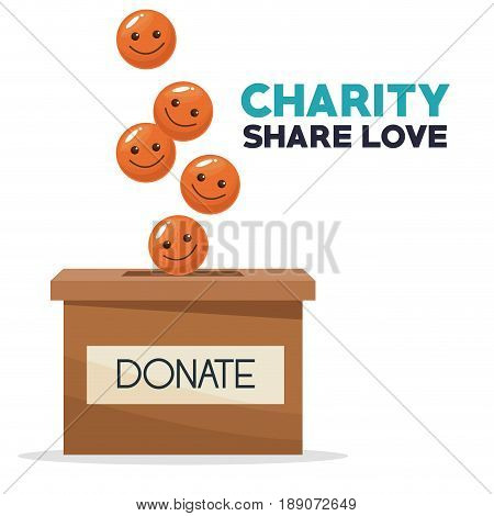 coins in form of happy face depositing in a carton box charity share love vector illustration