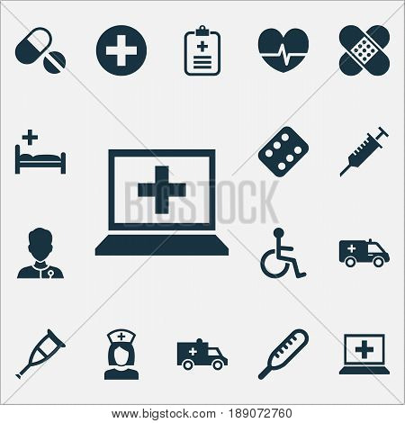 Drug Icons Set. Collection Of Peck, Database, Ache And Other Elements. Also Includes Symbols Such As Invalid, Help, Clinic.
