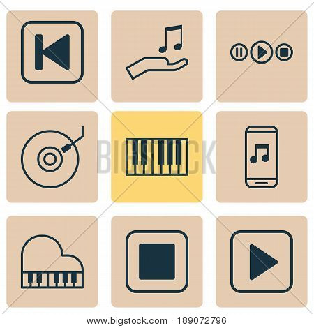 Audio Icons Set. Collection Of Piano, Song UI, Note Donate And Other Elements. Also Includes Symbols Such As Synthesizer, Octave, Media.