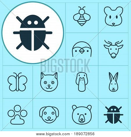 Zoo Icons Set. Collection Of Diver, Claw Print, Bumblebee And Other Elements. Also Includes Symbols Such As Reindeer, Duck, Bunny.