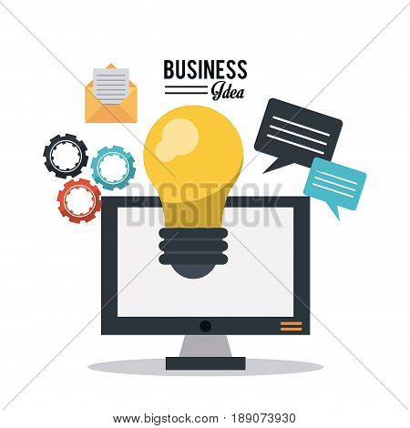 colorful poster of business idea with desktop computer and light bulb and mail and pinions and speech dialogue vector illustration