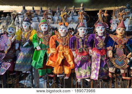 Traditional handicraft puppets souvenir in Mandalay Myanmar