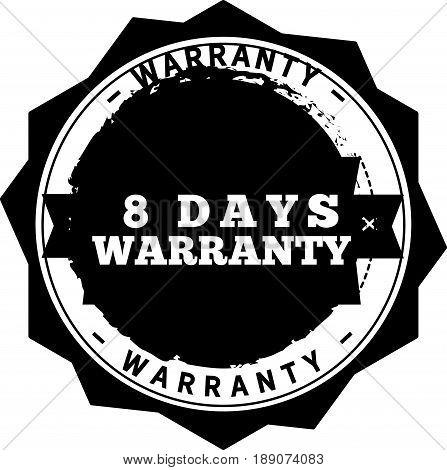 8 days warranty icon vector vintage grunge guarantee background