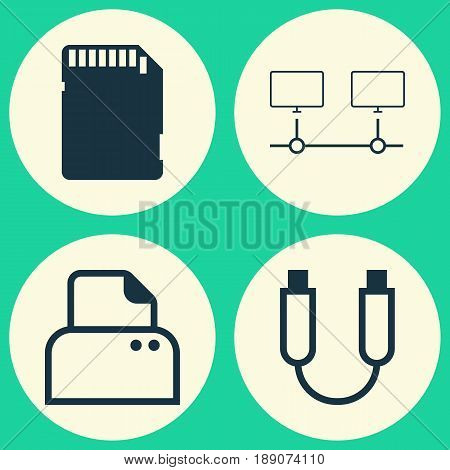 Computer Icons Set. Collection Of File Scanner, Memory Card, Portable Memory And Other Elements. Also Includes Symbols Such As Usb, Computer, Memory.