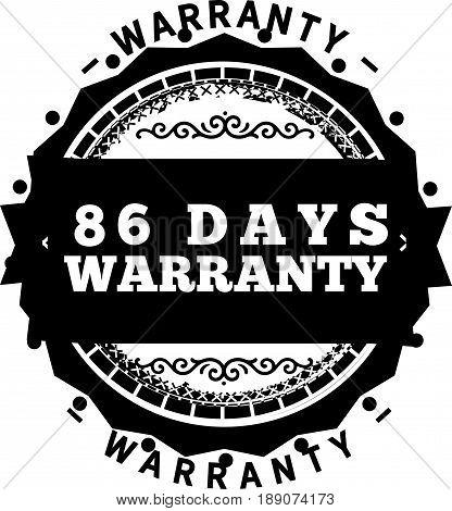 86 days warranty icon vector vintage grunge guarantee background