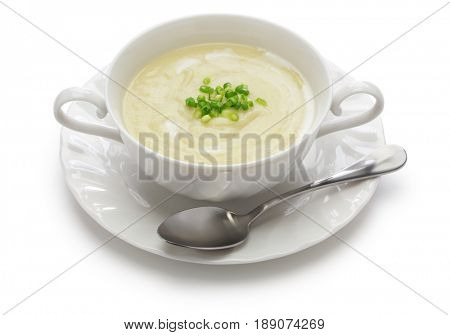 vichyssoise, cold potato soup, american summer cuisine isolated on white background