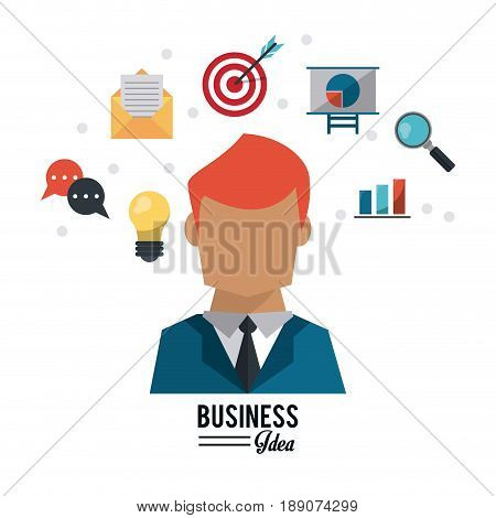 colorful poster with half body and red hair businessman and several business icons vector illustration