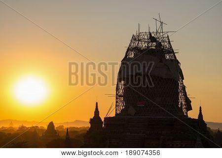 Renovation of pagoda in Bagan Myanmar after big earthquake in 2016