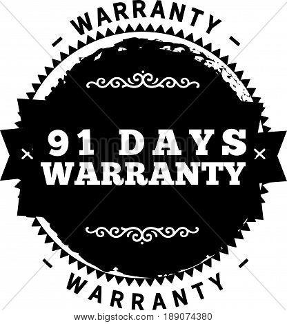 91 days warranty icon vector vintage grunge guarantee background