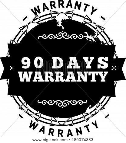 90 days warranty icon vector vintage grunge guarantee background