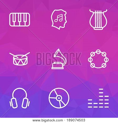 Audio Outline Icons Set. Collection Of Stringed, Keys, Equalizer And Other Elements. Also Includes Symbols Such As Piano, Plastic, Equalizer.