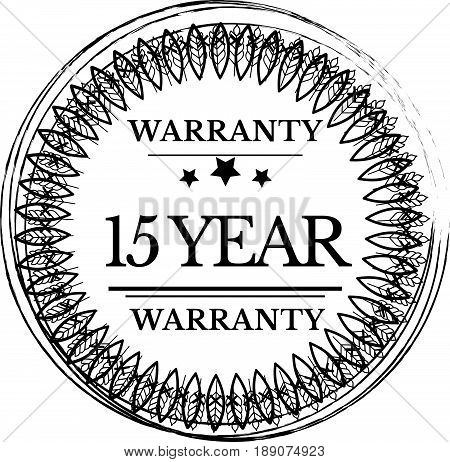 15 year warranty icon vector vintage grunge guarantee background