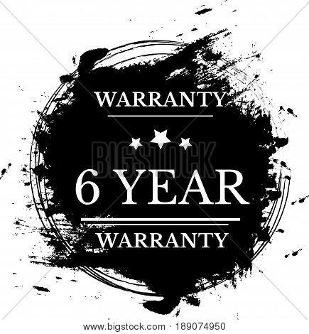 6 year warranty icon vector vintage grunge guarantee background