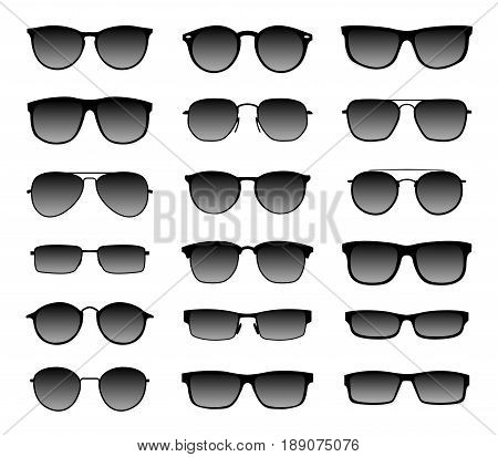 Realistic sunglasses with a translucent black glass in a black frame. Protection from sun and ultraviolet rays. Fashion accessory vector illustration set