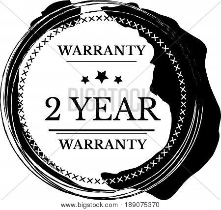 2 year warranty vintage grunge black rubber stamp guarantee background