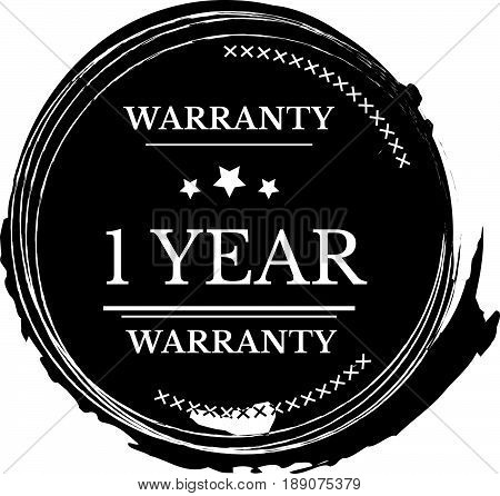 1 warranty vintage grunge black rubber stamp guarantee background
