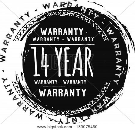 14 year warranty vintage grunge black rubber stamp guarantee background