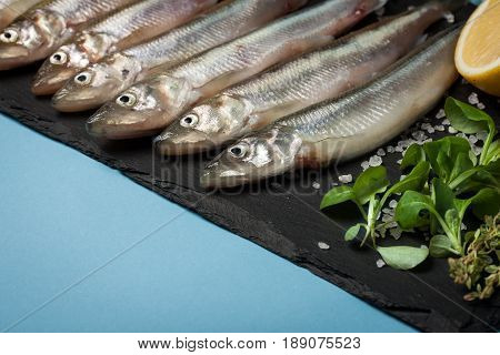 Fresh Sea Fish Smelt Or Sardines Ready For Cooking With Lemon, Thyme, And Coarse Sea Salt On A Blue
