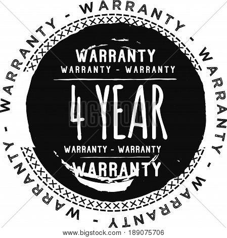 4 year warranty vintage grunge black rubber stamp guarantee background