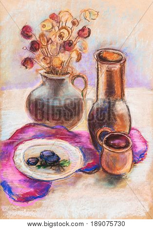Still life with jugs on claret cloth