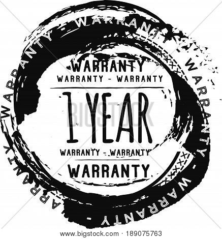 1 year warranty vintage grunge black rubber stamp guarantee background