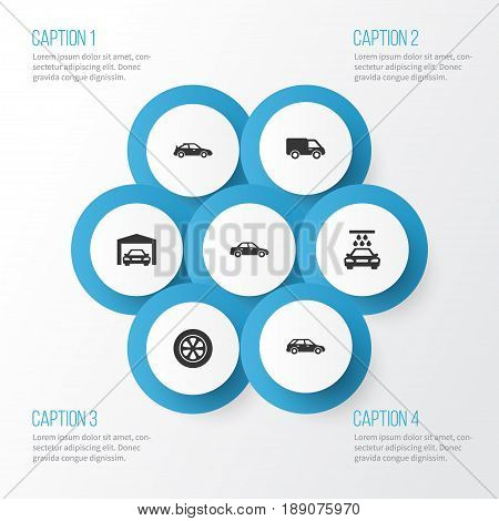 Automobile Icons Set. Collection Of Truck, Repairing, Automobile And Other Elements. Also Includes Symbols Such As Water, Van, Tire.